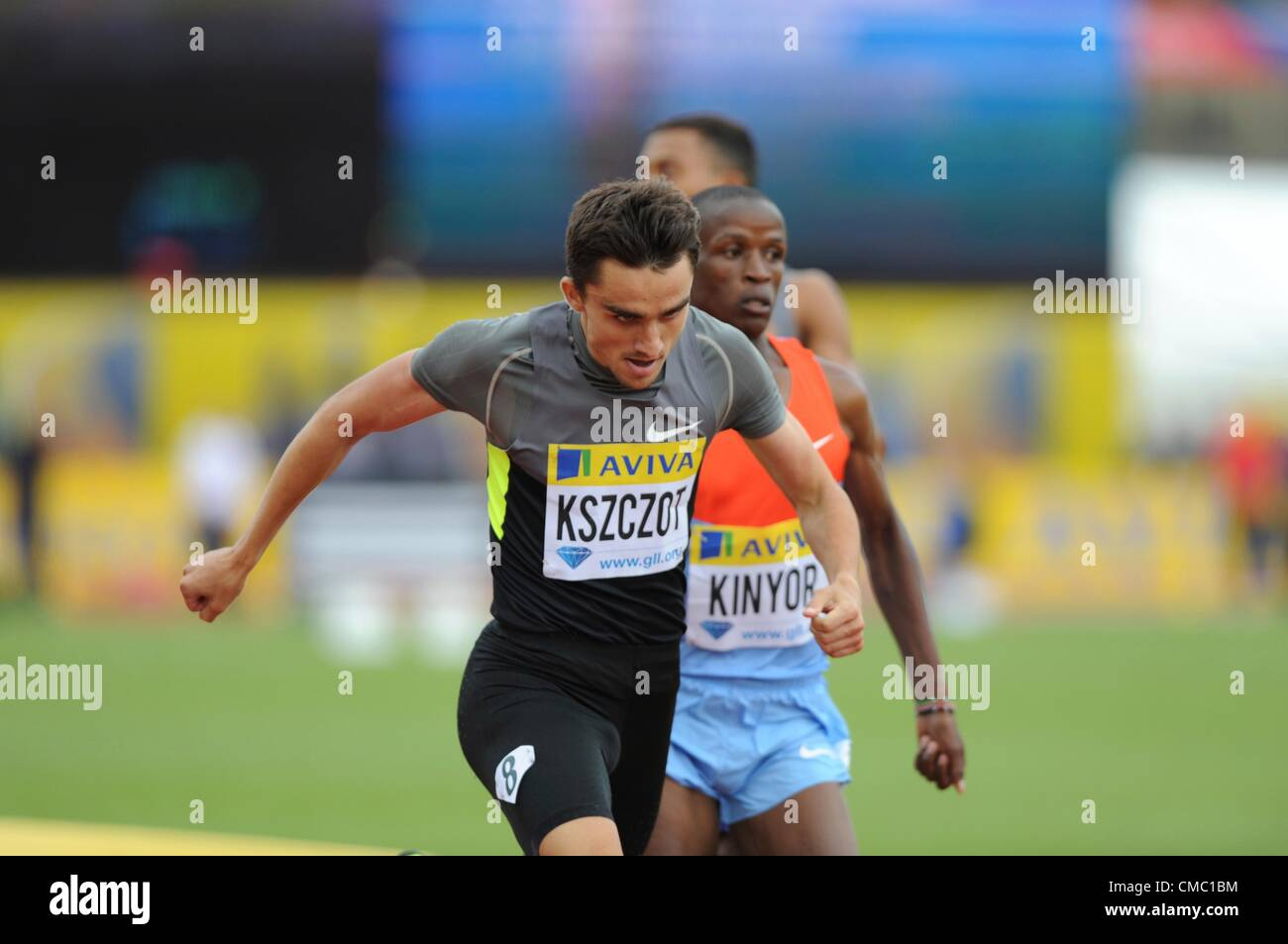 14.07.2012 Crystal Palace, London ENGLAND. , Adam Kszczot wins the 800m Final at the Aviva Grand Prix at the Crystal - Stock Image