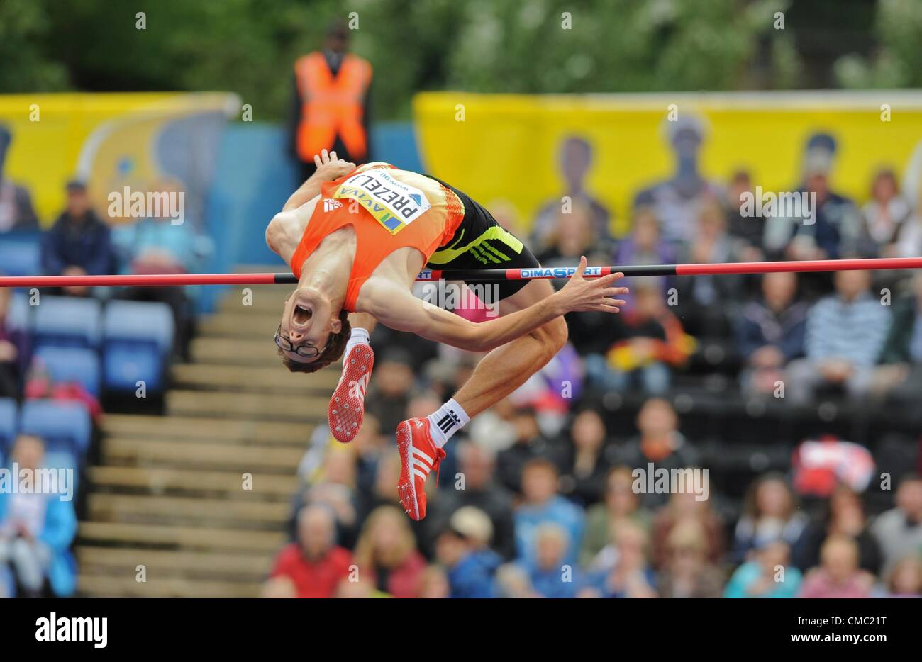 14.07.2012 London ENGLAND Mens High Jump, Rozle Prezelj in action during the Aviva Grand Prix at the Crystal Palace - Stock Image