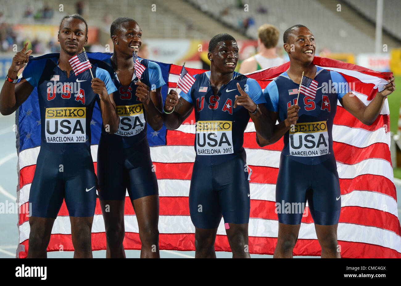 BARCELONA, Spain: Saturday 14 July 2012, Aaron Ernest, Arthur Delaney, Aldrich Bailey and Tyreek Hill (all USA) - Stock Image
