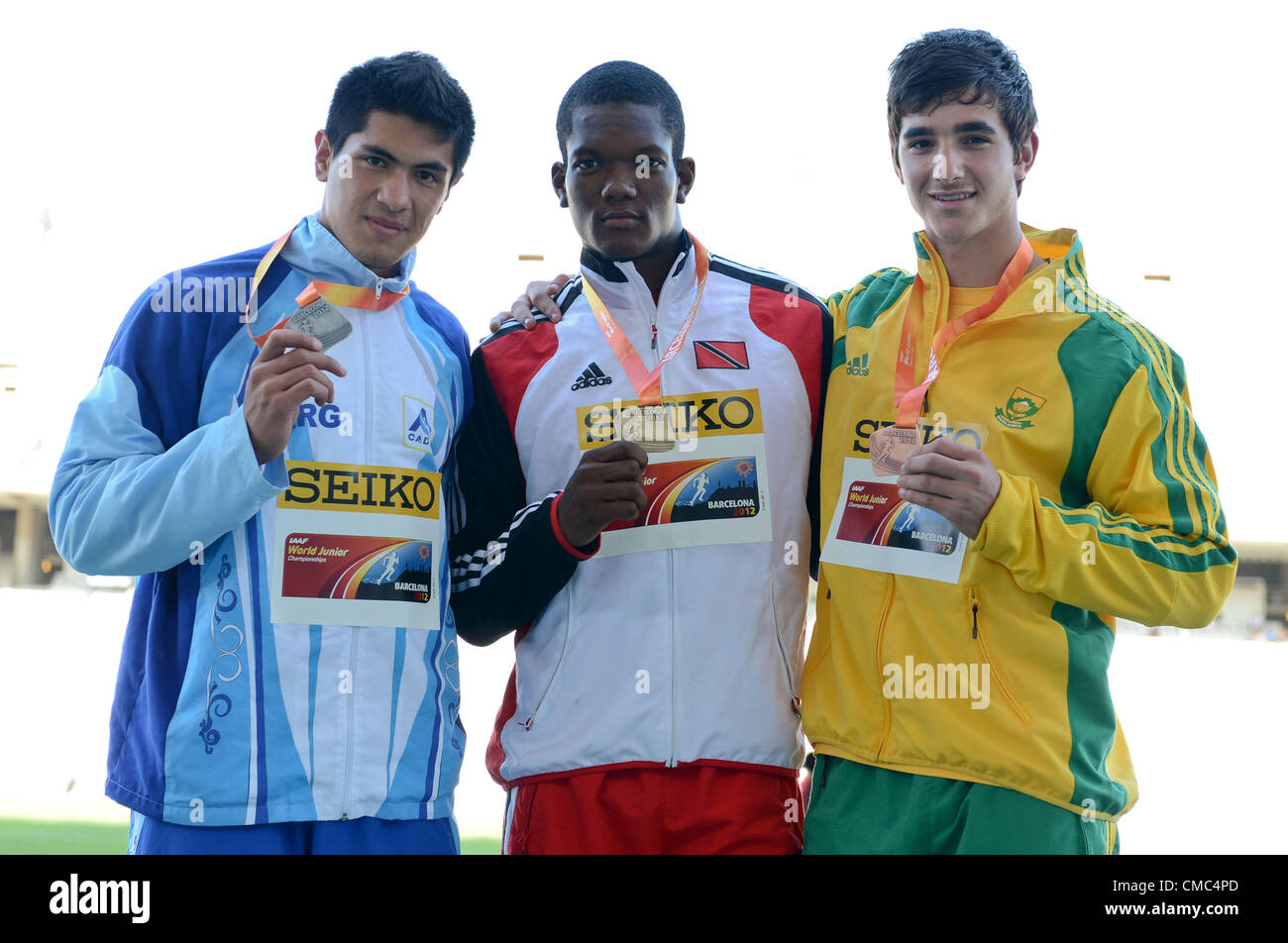 BARCELONA, Spain: Saturday 14 July 2012, Braian Toldeo (Argentina, silver), Keshorn Walcott (Trinidad and Tobago, - Stock Image