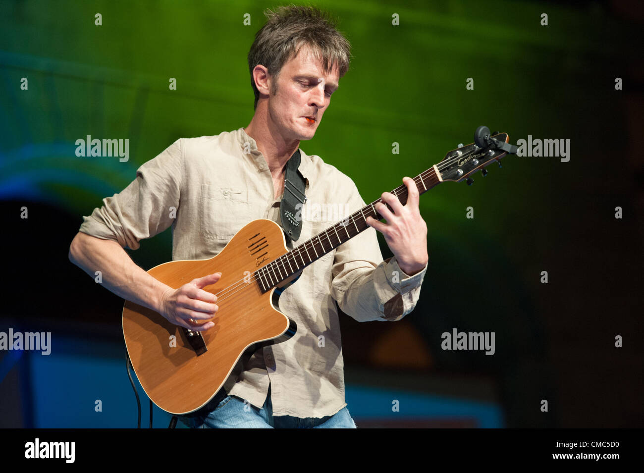 July 14, 2012 – Las Palmas, Canary Islands, Spain – Guitarist Jörg Pfeil, from Germany, onstage with Munit - Stock Image