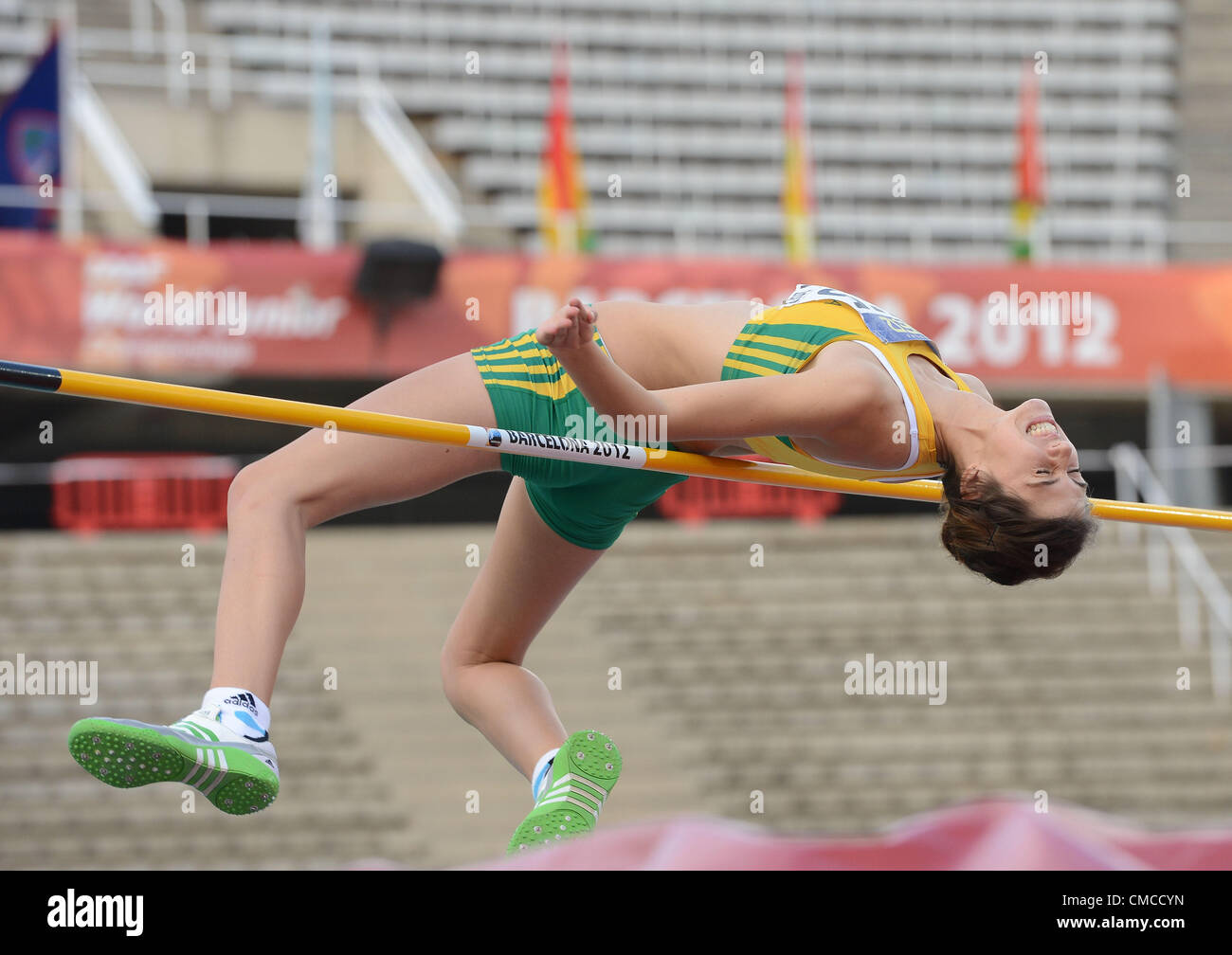BARCELONA, Spain: Sunday 15 July 2012, Julia du Plessis of South Africa in the women's high jump during day - Stock Image
