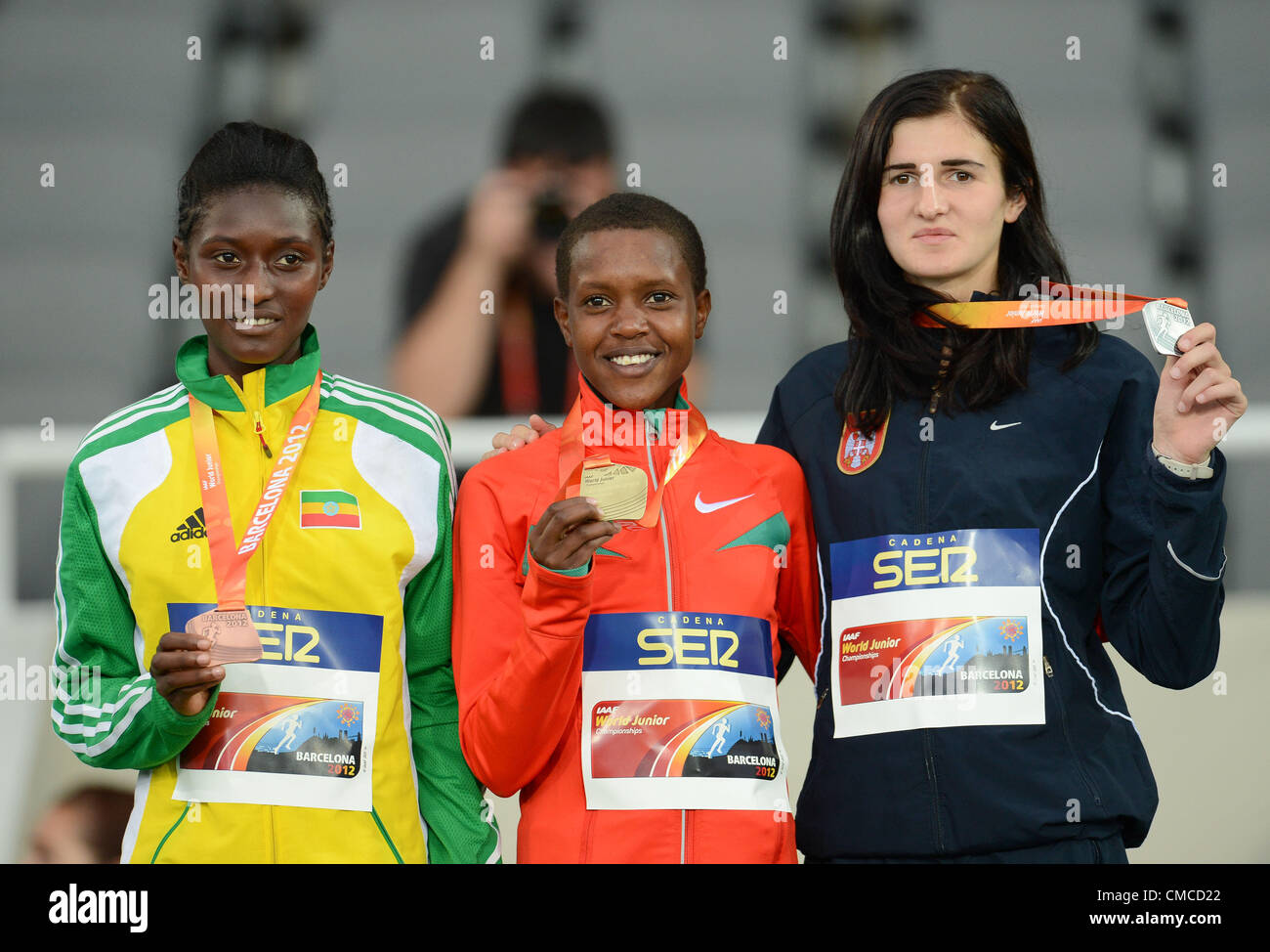 BARCELONA, Spain: Sunday 15 July 2012, Senbere Teferi (Ethiopia, bronze), Faith Chepngetich Kipyegon (Kenya, gold) - Stock Image