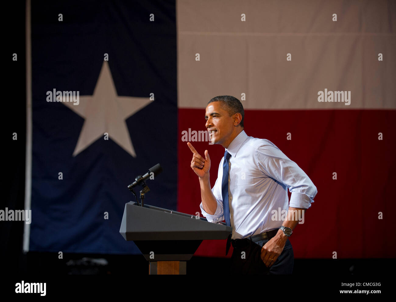 U.S. President Barack Obama makes a Texas campaign stop Tuesday night at the Austin Music Hall during the 2012 campaign - Stock Image