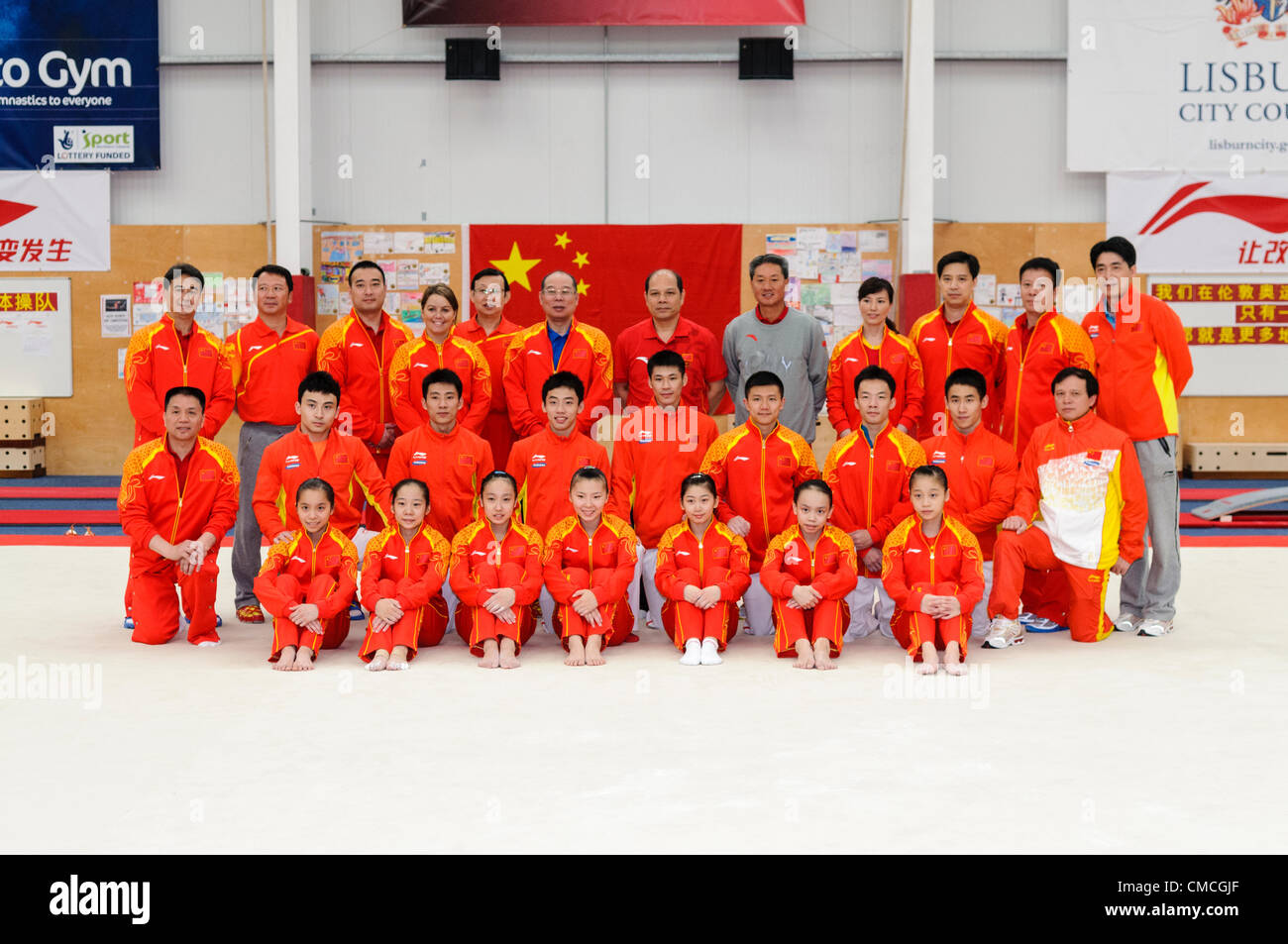 Lisburn, 18/07/2012 - Chinese gymnastic team and coaches for London 2012 Olympic games in Lisburn, Northern Ireland - Stock Image