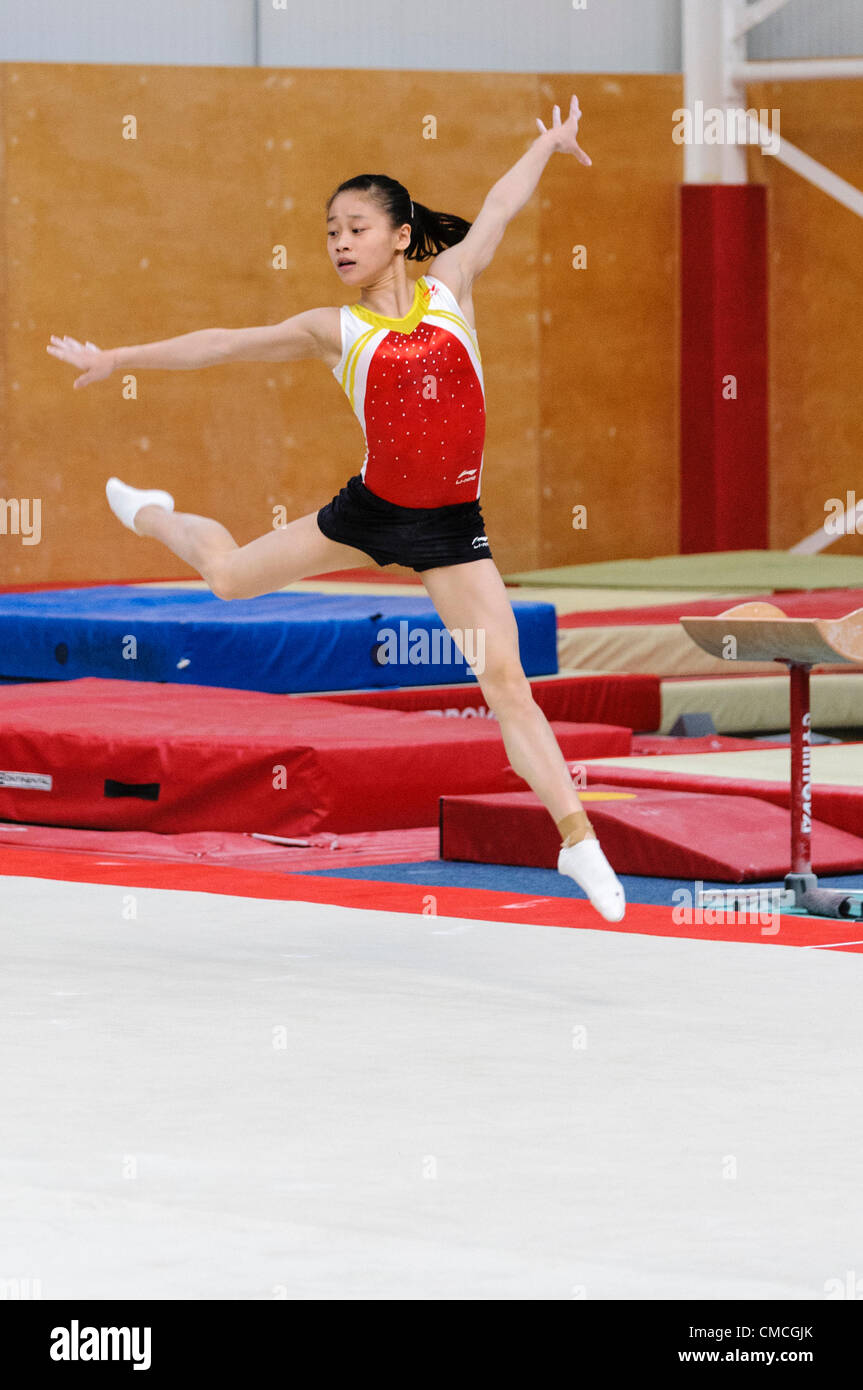 Lisburn, 18/07/2012 - Chinese gymnastic team in training for London 2012 Olympic games in Lisburn, Northern Ireland - Stock Image