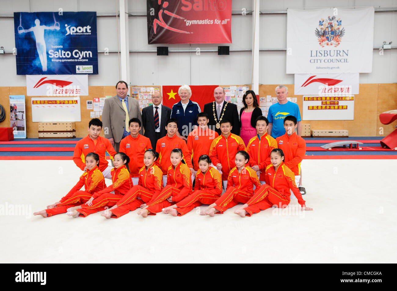 Lisburn, 18/07/2012 - Chinese gymnastic team for London 2012 Olympic games in Lisburn, Northern Ireland - Stock Image
