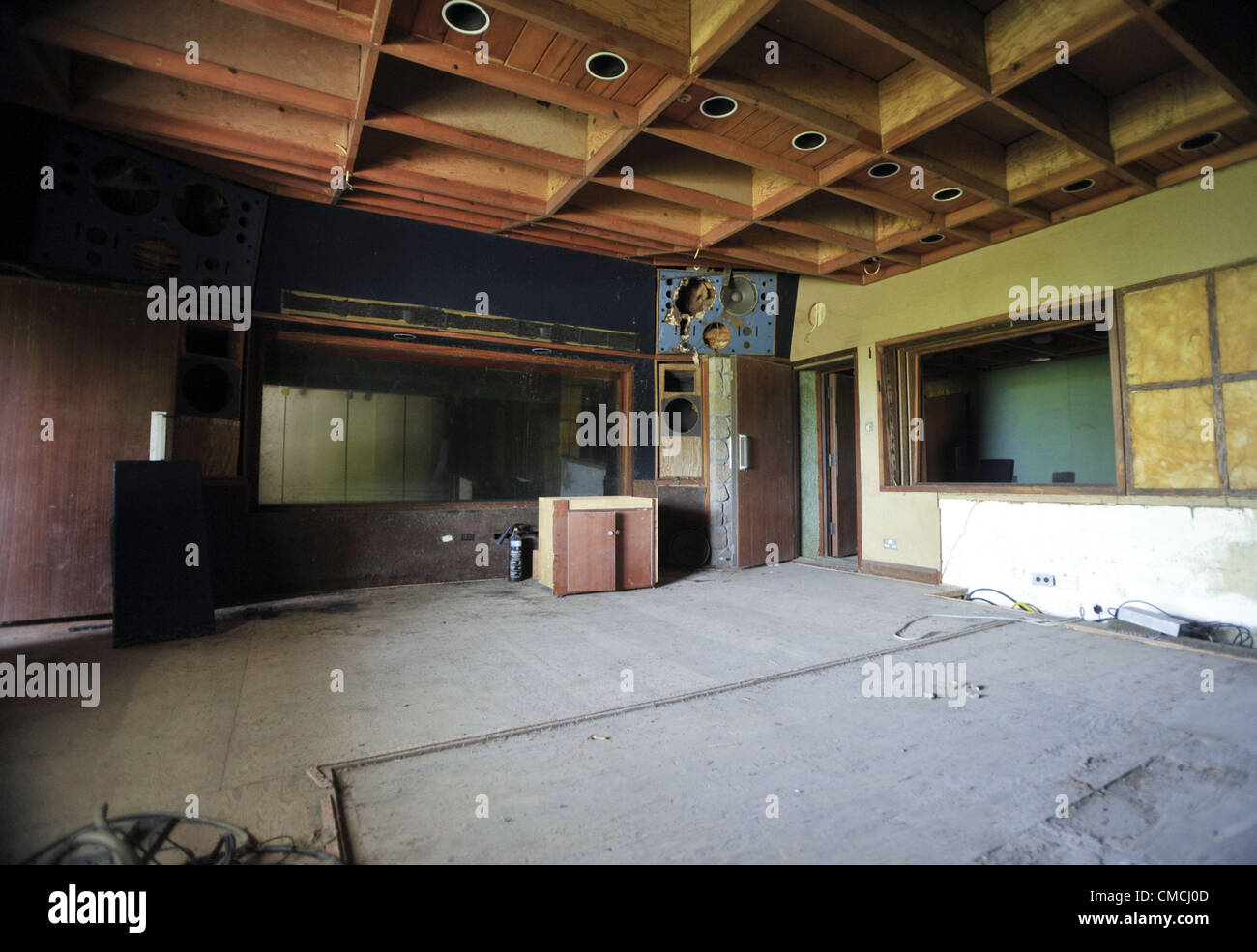 June 22, 2012 - Montserrat, UNITED KINGDOM - Although abandoned, the AIR studios recording room which once hosted - Stock Image