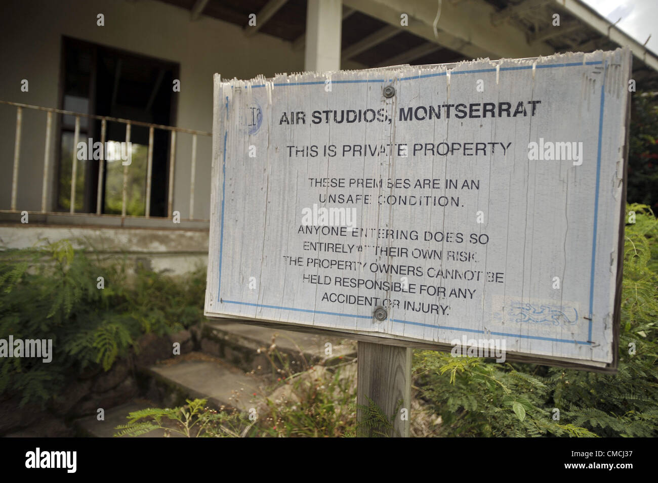 June 22, 2012 - Montserrat, UNITED KINGDOM - Determined to be in the exclusion zone, the abandoned AIR studios recording - Stock Image