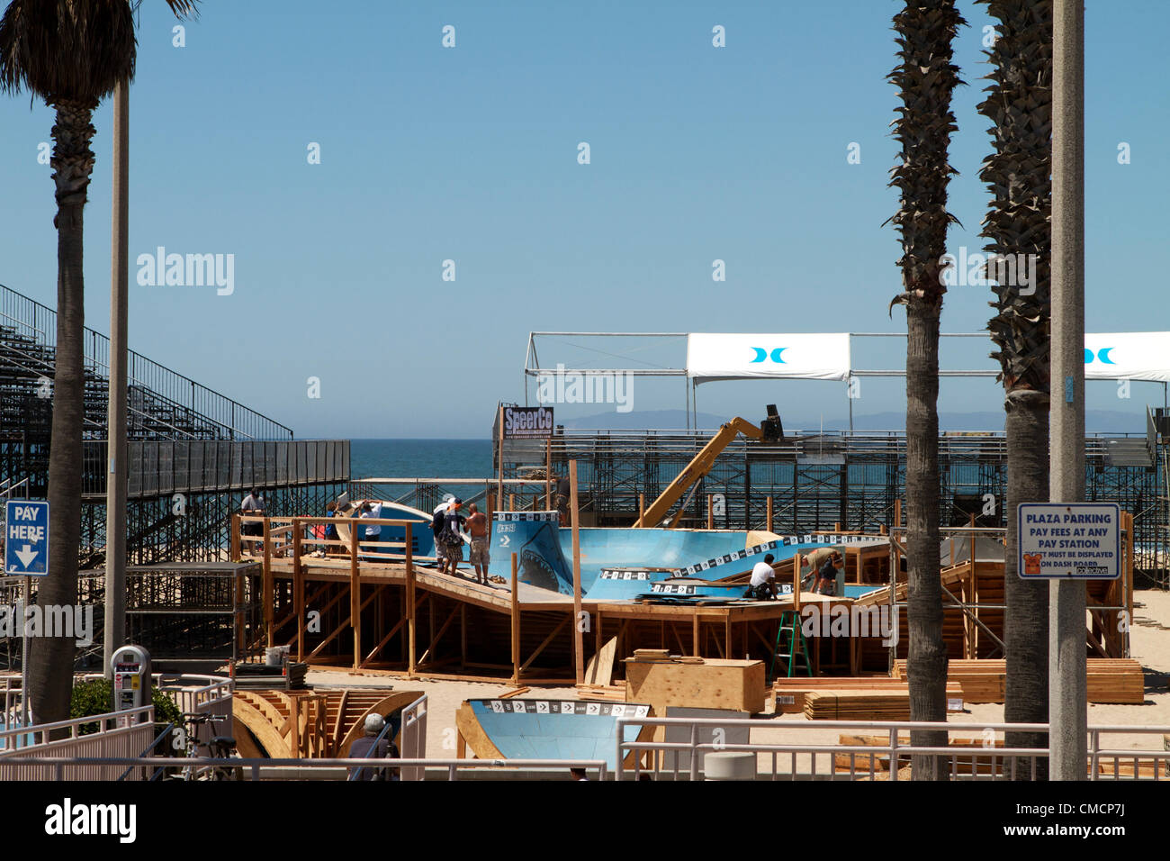 July 19th 2012  Construction crews work on erecting the stands, stadiums  and bleachers south of Huntington Beach Stock Photo