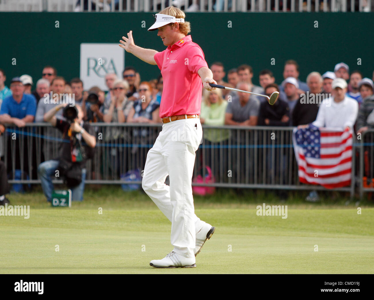 BRANDT SNEDEKER SINKS HIS BIRDIE ON 18TH LYTHAM & ST.ANNES LANCASHIRE ENGLAND 21 July 2012 - Stock Image
