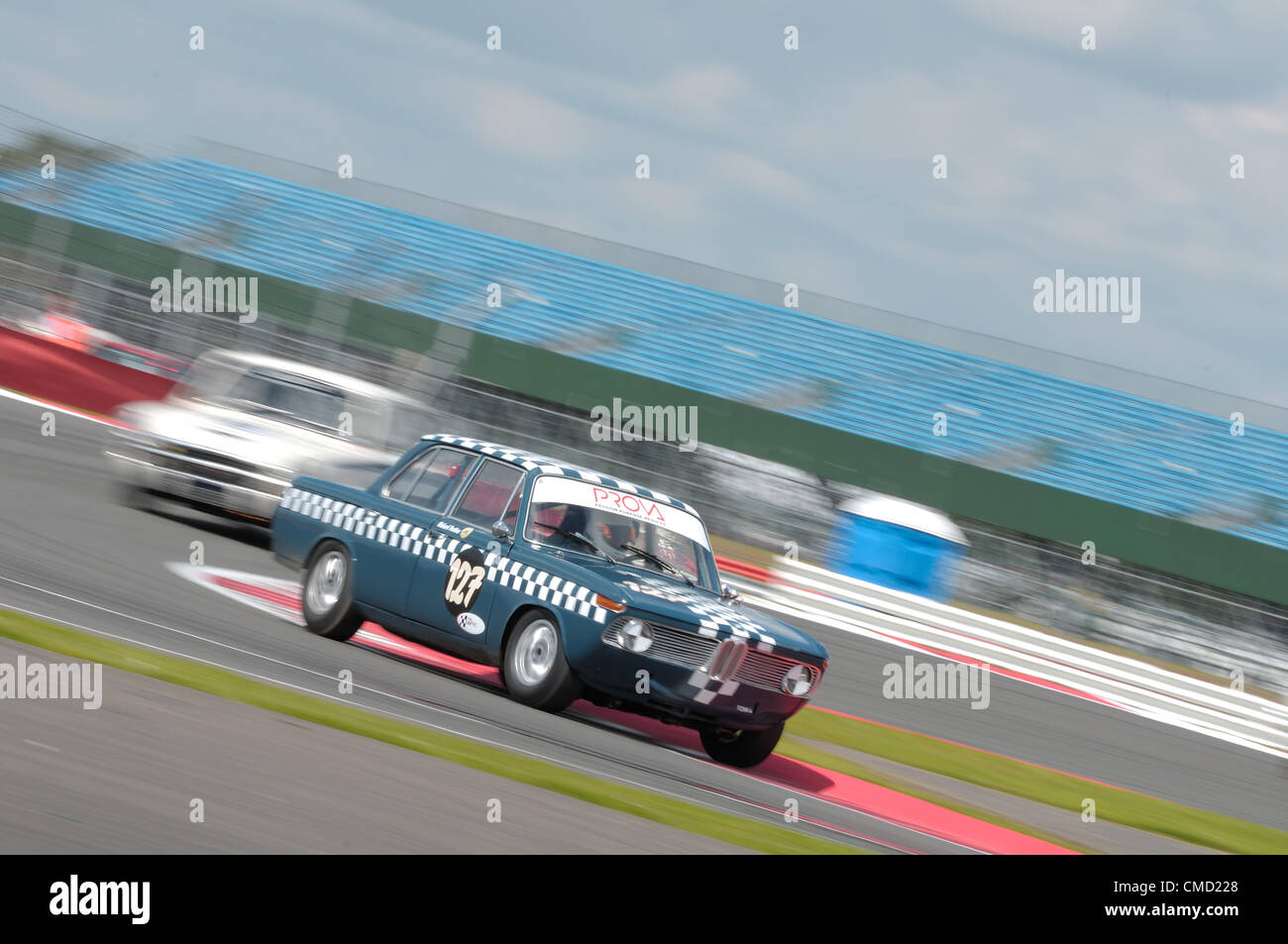 21st July 2012, Silverstone, UK  Richard Postins' BMW 1800Ti during the Alan Mann Trophy for under 2 Litre Touring Stock Photo
