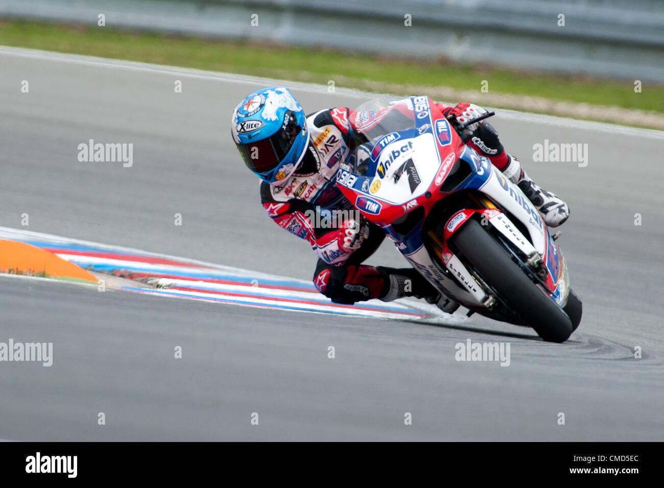 22.07.2012. Brno, Czech Republic.  7 Carlos Checa of Althea Racing Ducati 1098R  Brno Racetrack, Brno Czech Republic. Stock Photo