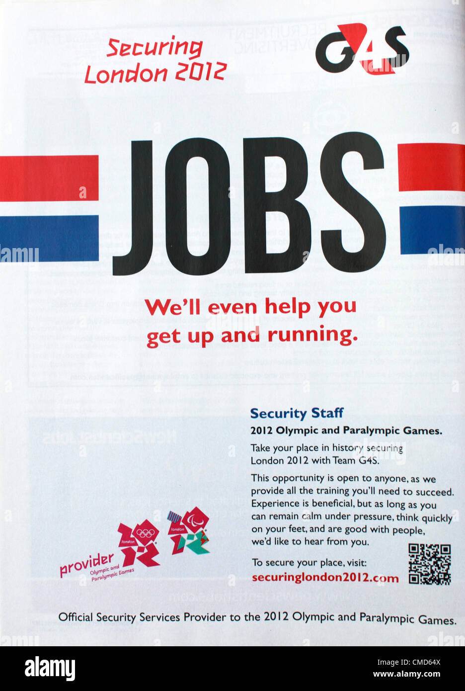 G4S job advert for London Olympic 2012 Security Staff, posted in New Scientist job section 24 December 2011 Stock Photo