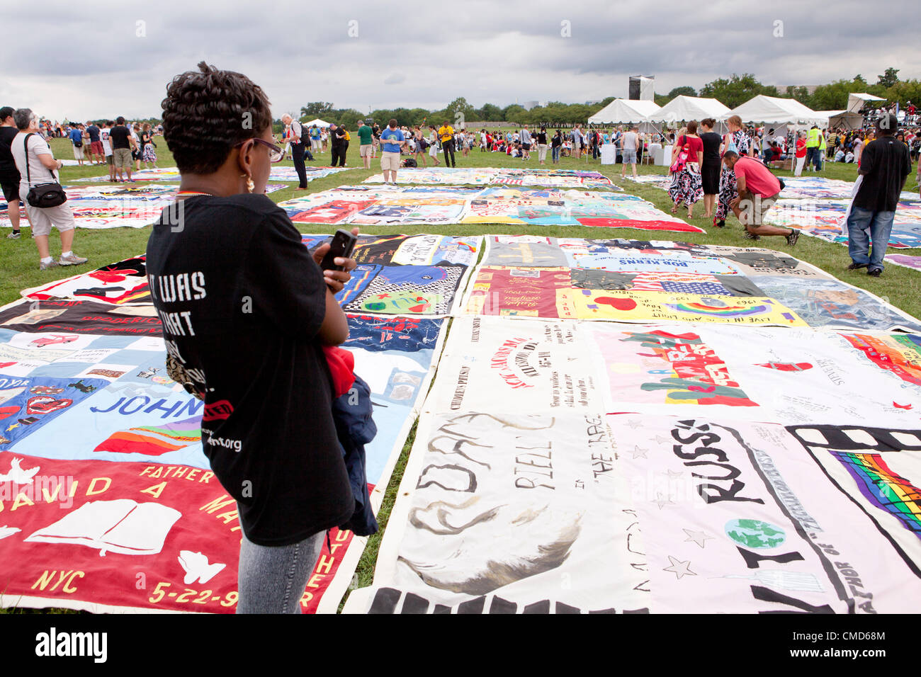 AIDS Memorial Quilt panels are put on display on the Mall to mark its 25th anniversary, ahead of the International Stock Photo