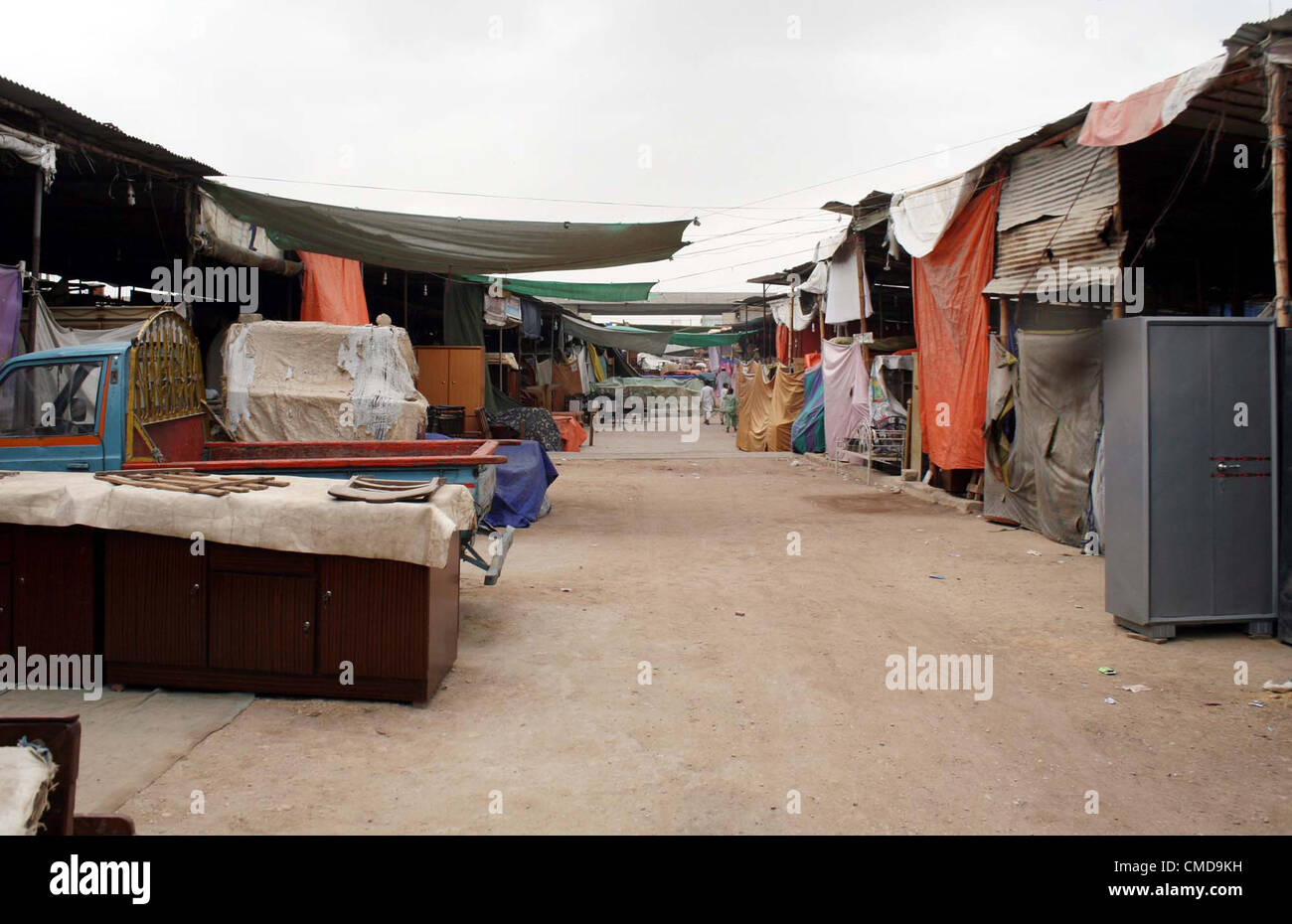 View Of Closed Furniture Market At Gharibabad Due To Funeral Prayer