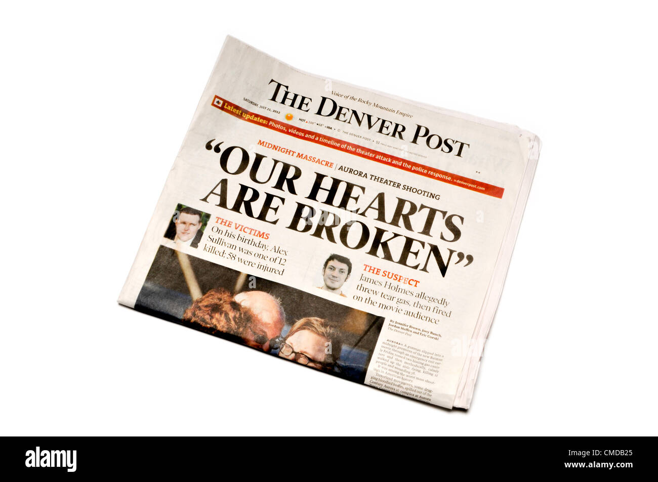 Headline of the Denver Post newspaper, Denver, Colorado, immediately following the shooting of over 70 people at - Stock Image