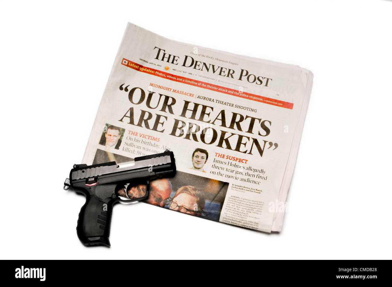 Headline of the Denver Post newspaper immediately following the shooting of over 70 people at the Aurora, Colorado - Stock Image