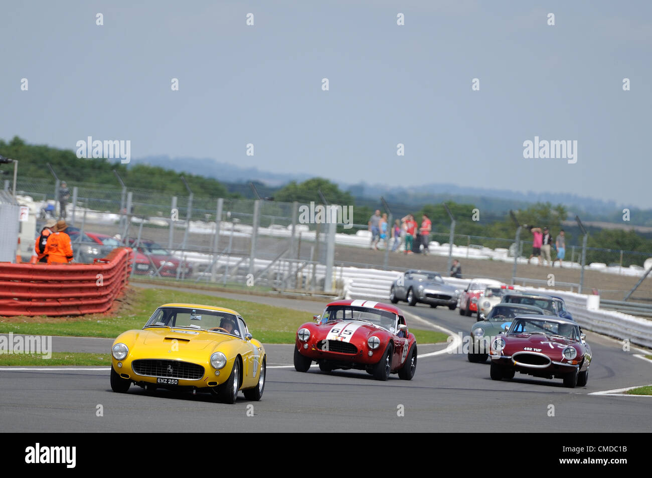 22nd July 2012, Silverstone, UK.  The cars leave the pit lane to start their formation lap before the Royal Automobile - Stock Image