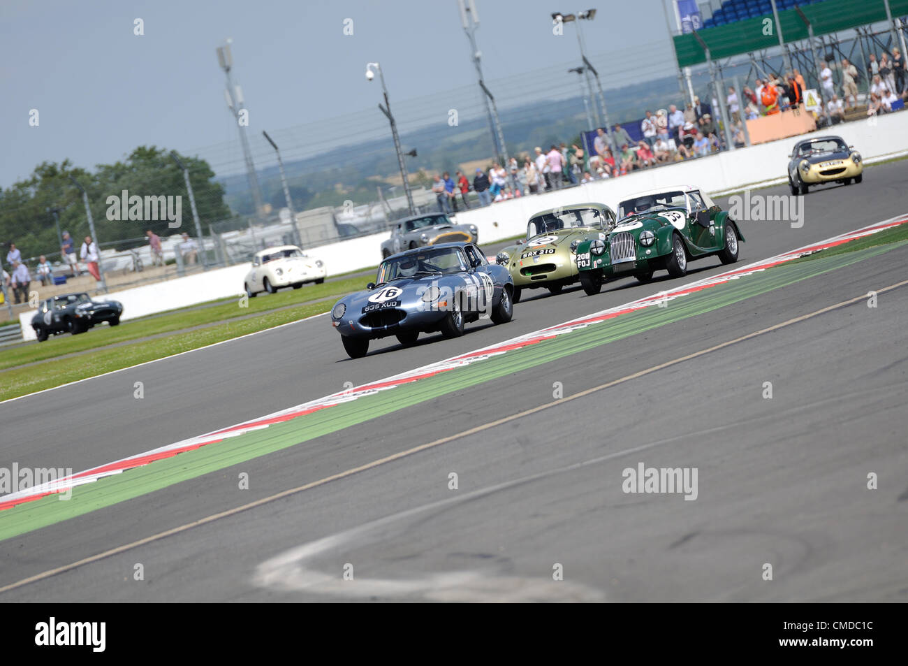 22nd July 2012, Silverstone, UK.  The cars battle for position during the Royal Automobile Club Tourist Trophy for - Stock Image