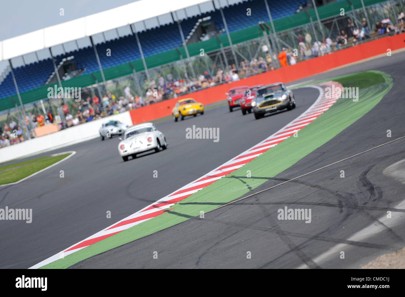 22nd July 2012, Silverstone, UK.  Skid marks from an earlier accident are seen at Copse Corner during the Royal - Stock Image