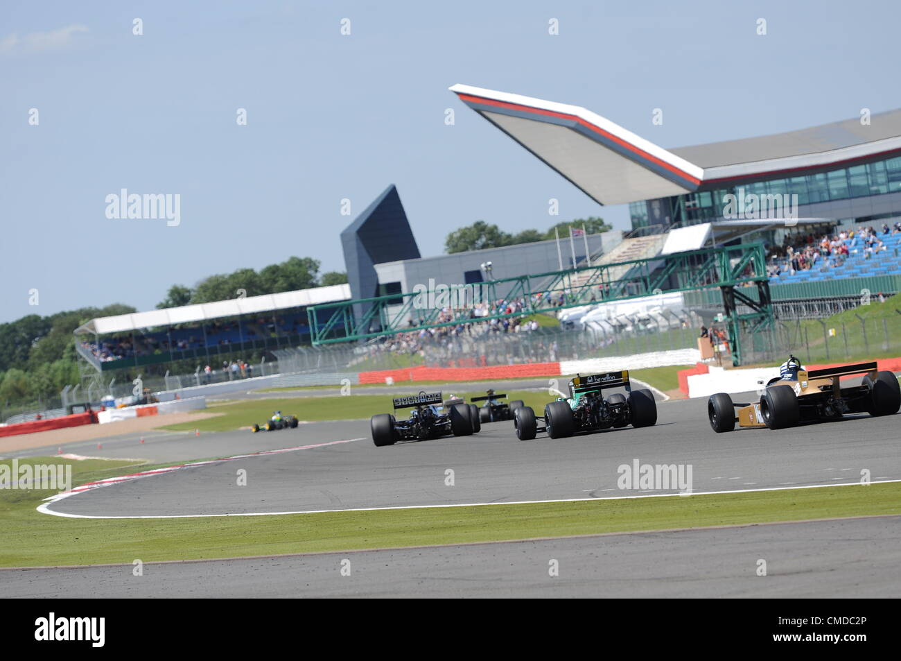 22nd July 2012, Silverstone, UK. The historic F1 cars race for position during the Daily Express International Trophy - Stock Image