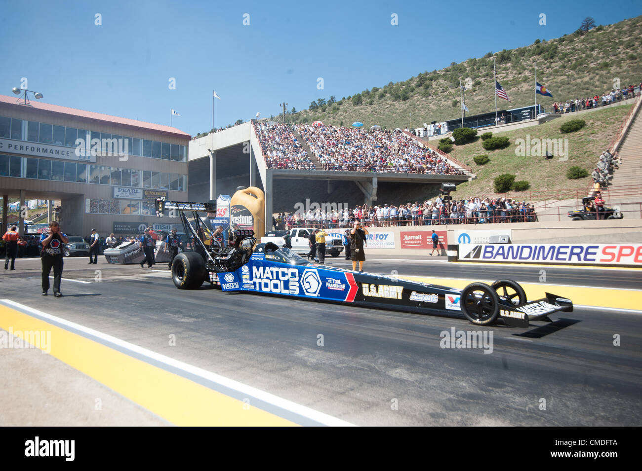 22.07.2012. Colorado, USA.     Antron Brown (Matco Tools/Aaron's Dragster)  during final eliminations at the NHRA Stock Photo