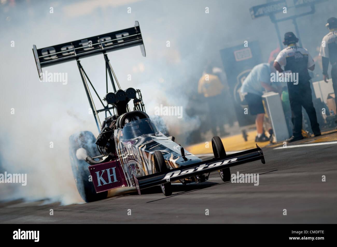 22.07.2012. Colorado, USA.    Shawn Langdon (Al-Anabi Racing Dragster)   during final eliminations at the NHRA Full Stock Photo