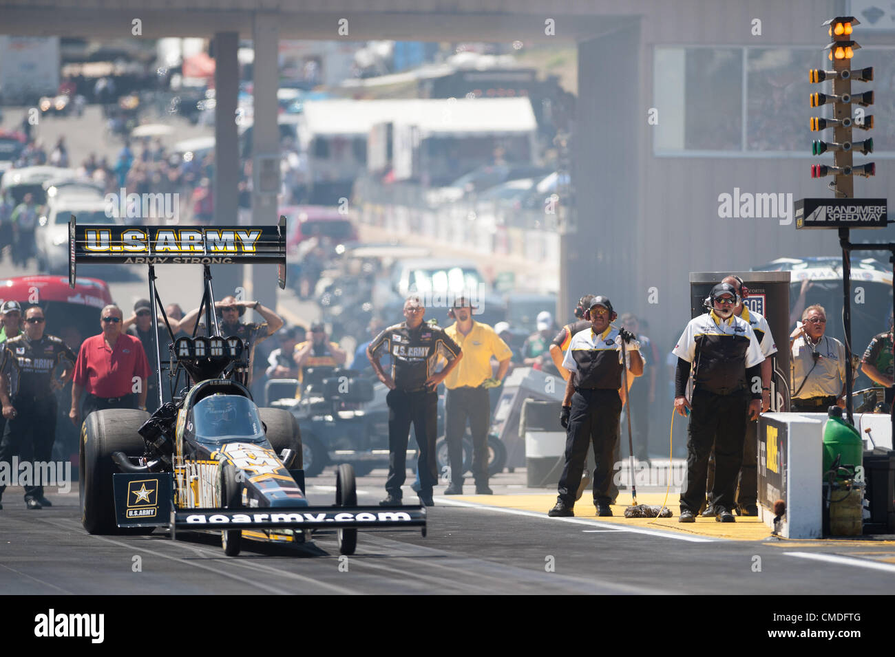 22.07.2012. Colorado, USA.    Tony Schumacher (U.S. Army Dragster)    during final eliminations at the NHRA Full Stock Photo