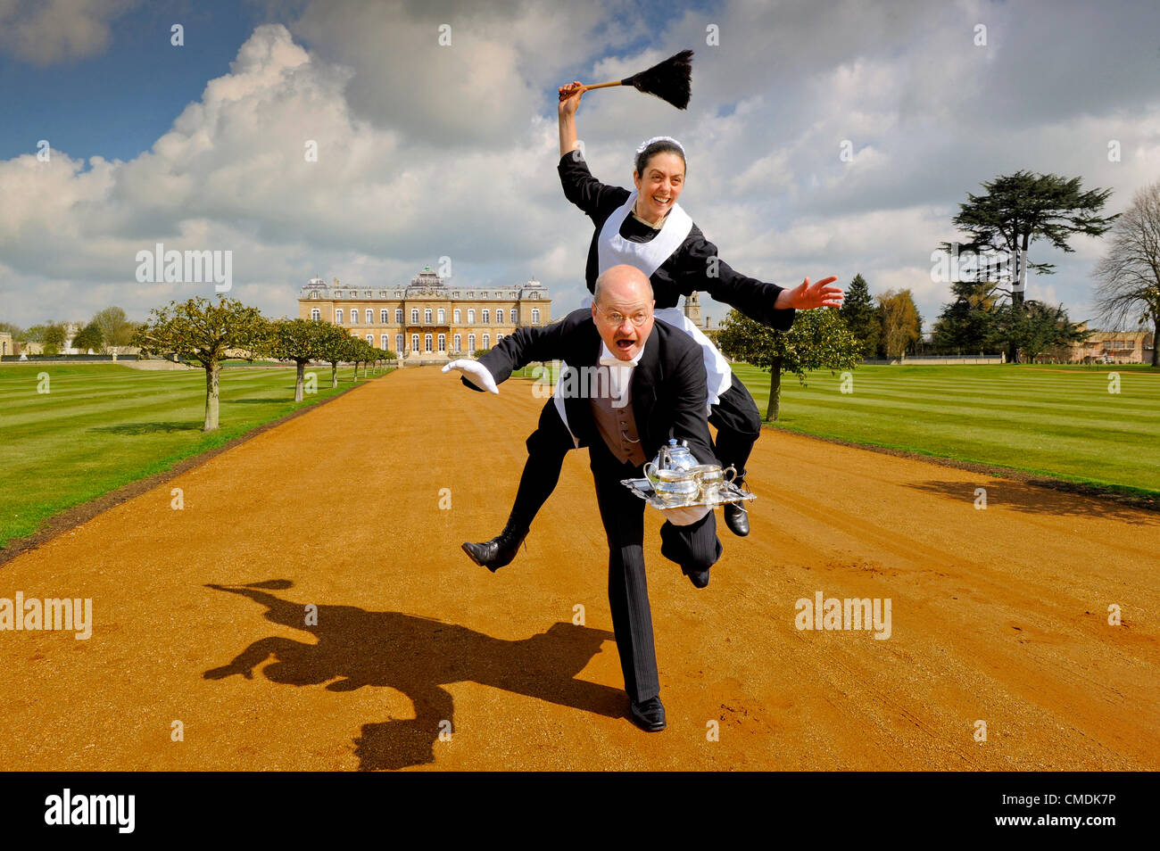 Bedfordshire, UK. Wednesday 25th July 2012. Time travellers go 'Upstairs, Downstairs' at Wrest Park, Bedfordshire, - Stock Image