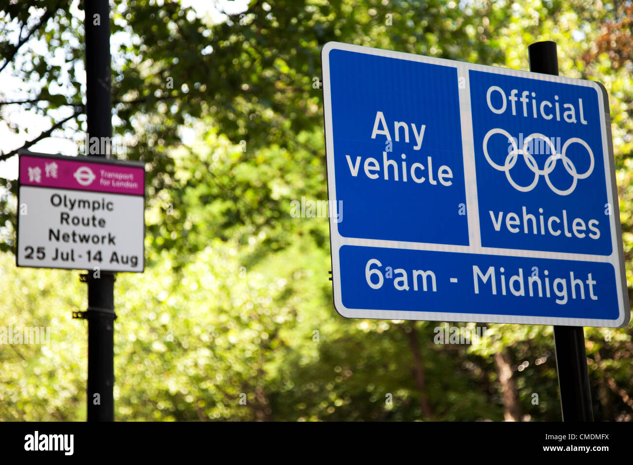 London, UK. Wednesday 25th July 2012. Games lanes signs on the Olympic Route Network. Transport is a huge issue - Stock Image