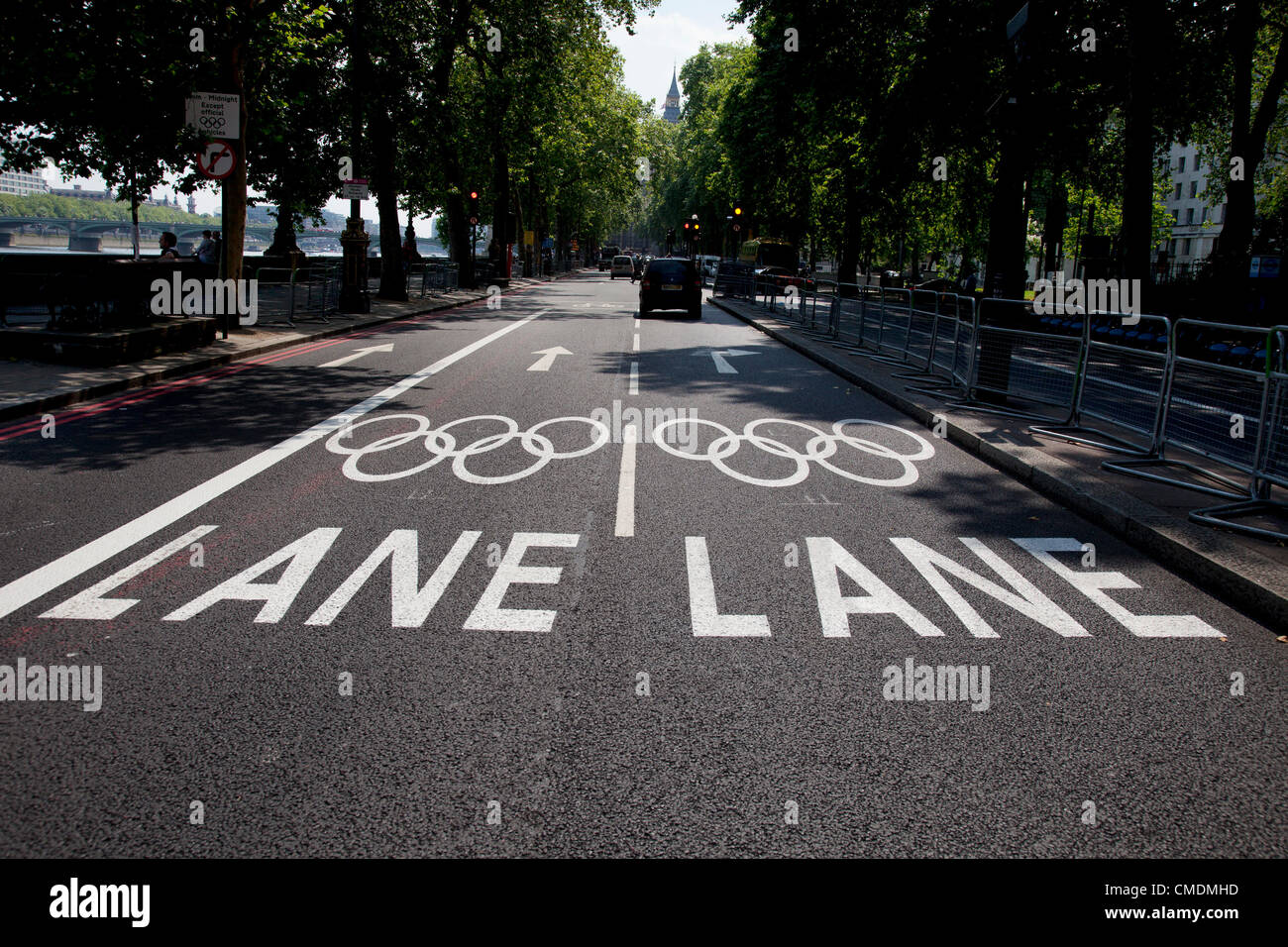 London, UK. Wednesday 25th July 2012. Games lane on Embankment on the Olympic Route Network. Transport is a huge - Stock Image
