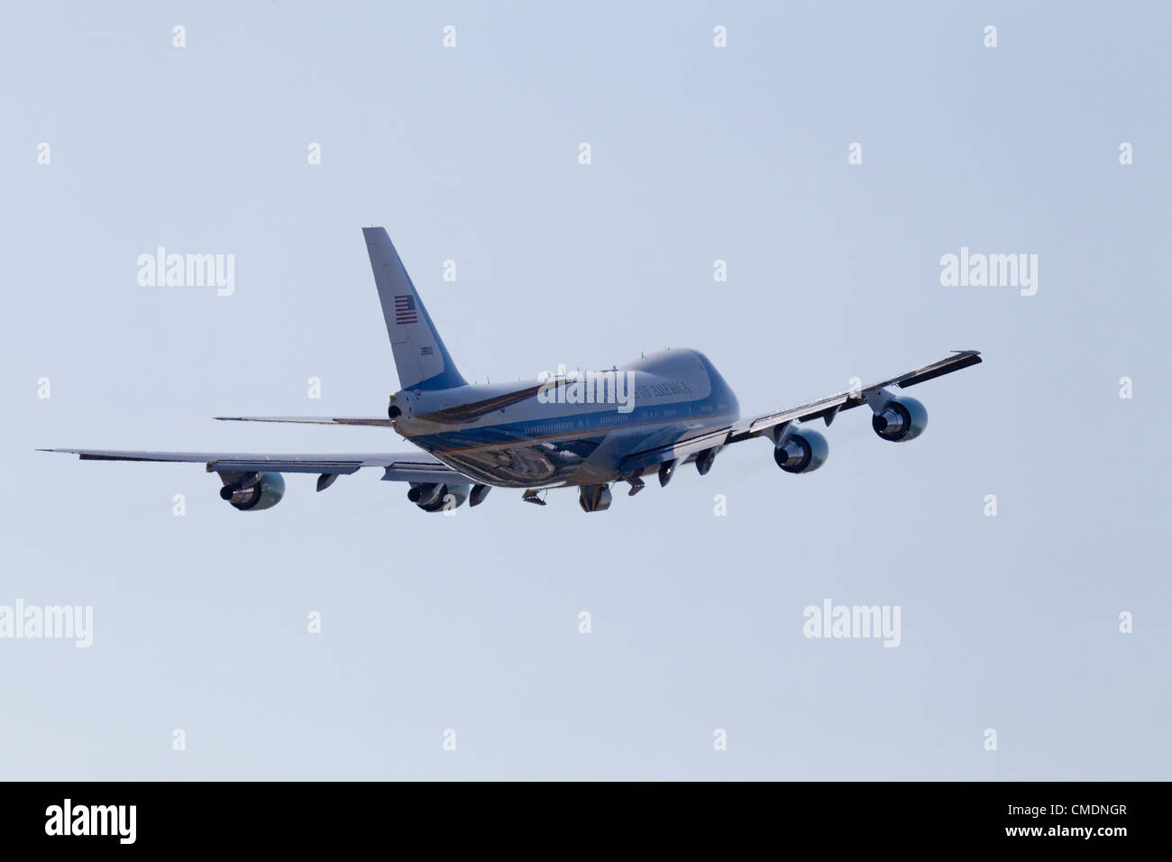 President Obama Departs from King County Airport/Boeing Field, Seattle, Washington on Air Force One, July 25, 2012 - Stock Image