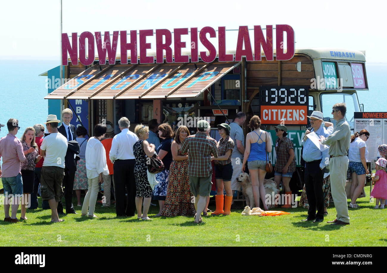 Nowhere Island arrives in the Olympic venue of Weymouth and Portland. The small island which has been towed from - Stock Image