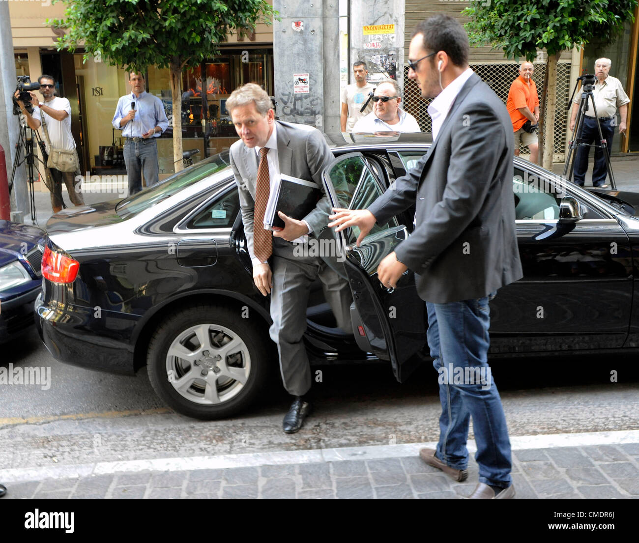 July 26, 2012 Athens Greece. Poul Thomsen, mission Chief, International Monetary Fund (IMF) arrives at the Ministry - Stock Image