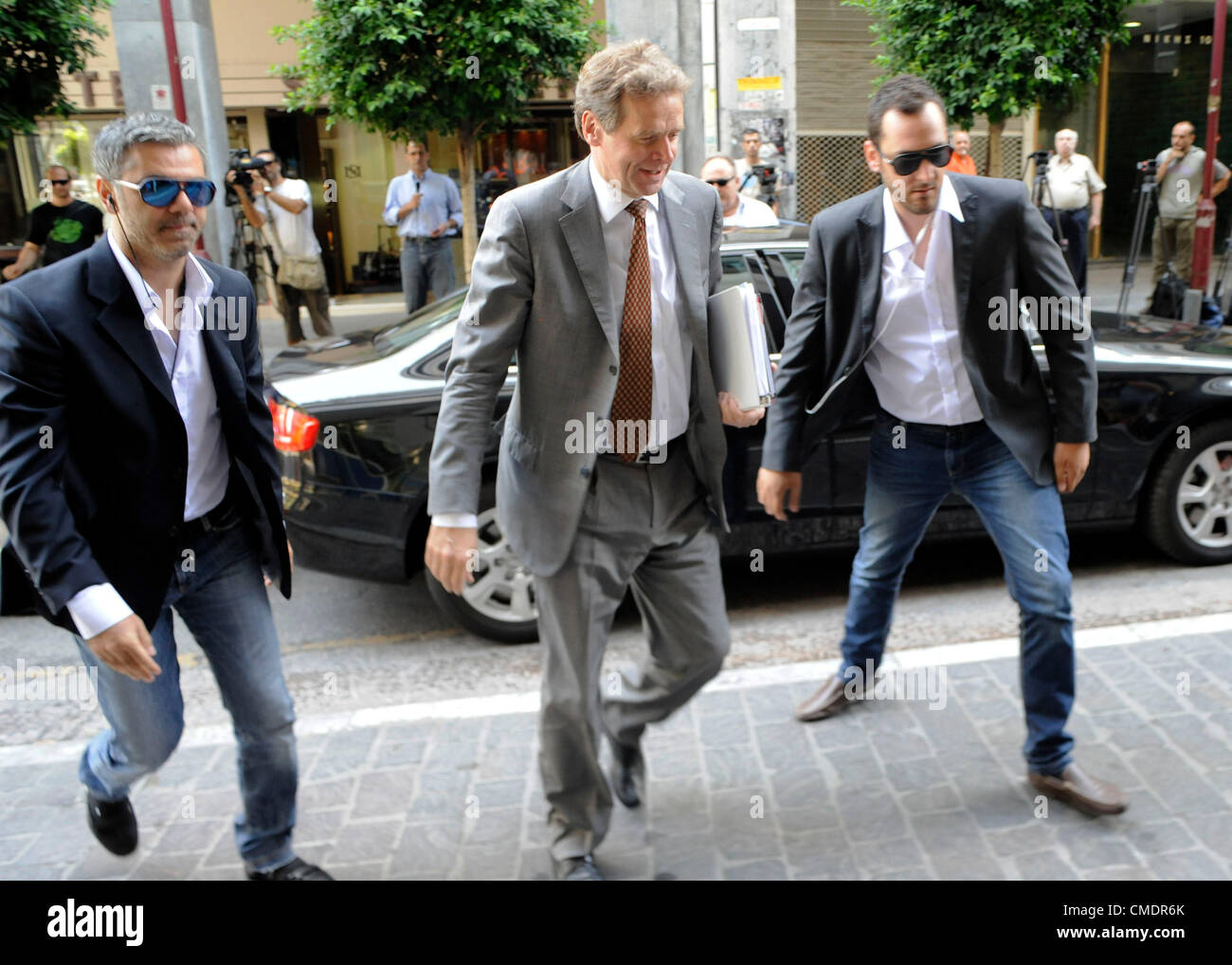 July 26, 2012. Athens, Greece. Poul Thomsen, mission Chief, International Monetary Fund (IMF) arrives at the Ministry - Stock Image