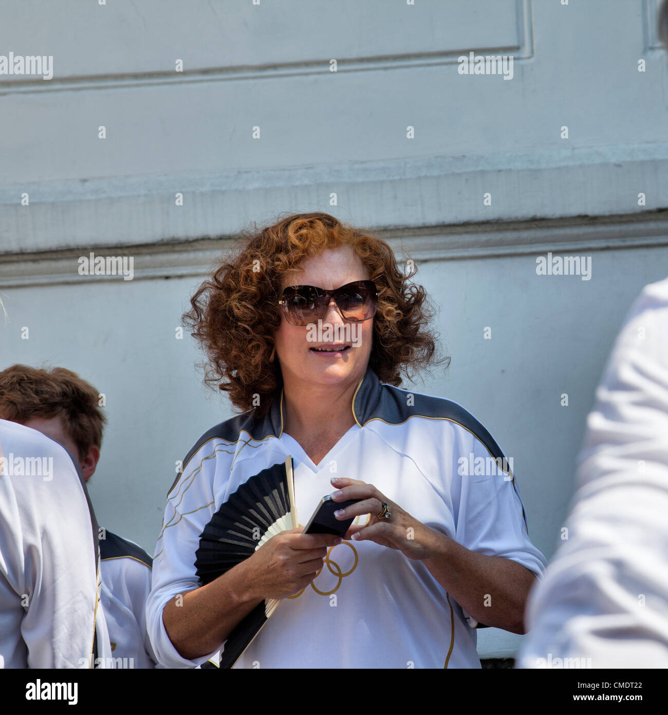 26 July 2012, Olympic Torch Relay, Clapham Common, London, UK  - 12.33 H - Jennifer ( Saunders ) Edmondson waits - Stock Image