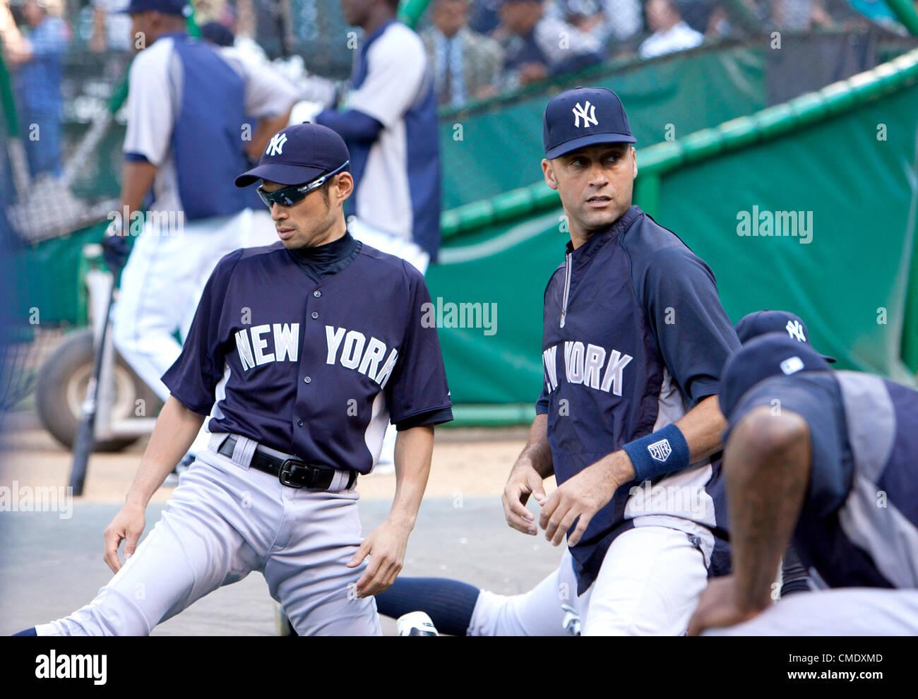 L-R) Ichiro Suzuki, Derek Jeter (Yankees), JULY 24, 2012 - MLB Stock