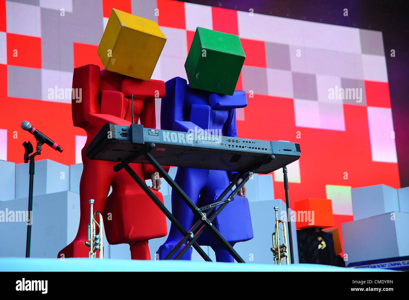July 21, 2012 - Moscow, Russia - July 21,2012. Pictured: English electronic dance music duo Pet Shop Boys performing - Stock Image