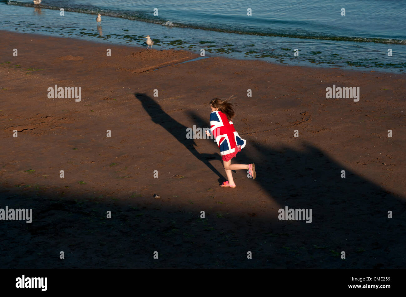 .brexit2012,leap, national, ocean, outdoors, patriot, patriotic, patriotism, people, person, olympics, action, active, - Stock Image