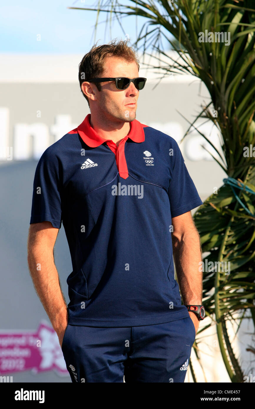 Paul Goodison of Team GB in the Sailing event at the 2012 Olympics opening event in Weymouth Stock Photo