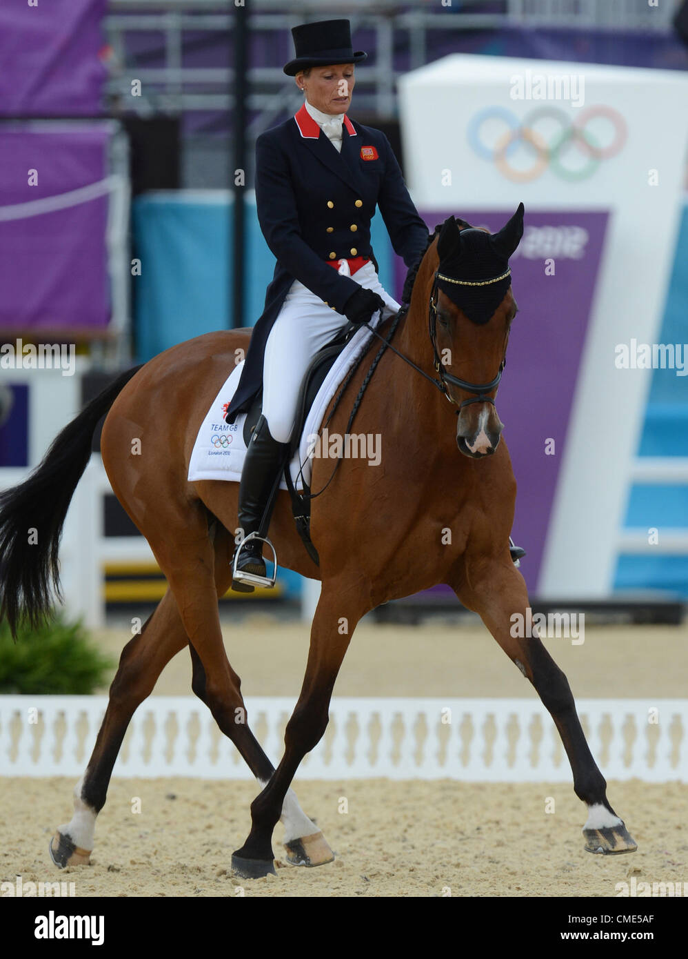 28.07.2012. London, England.  British eventing rider Mary King performs with her horse Imperial Cavalier in the - Stock Image