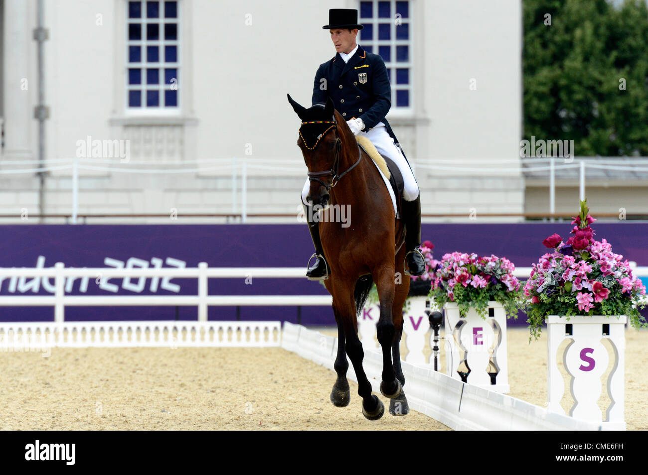 London, UK. 28th July, 2012. Greenwich Park. Olympics Equestrian Dirk Schrade GER riding King Artus Day 1 of Dressage Stock Photo