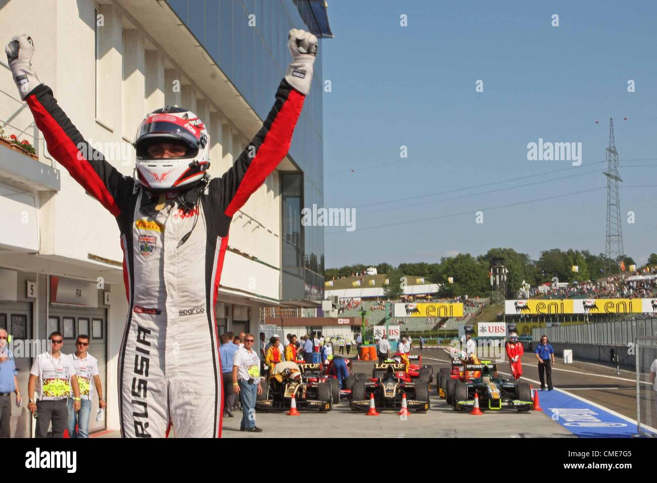 28.07.2012. Budapest, Hungary. FIA GP2  Motor racing.  Max Chilton wins his first ever GP2 race with Carlin - Stock Image