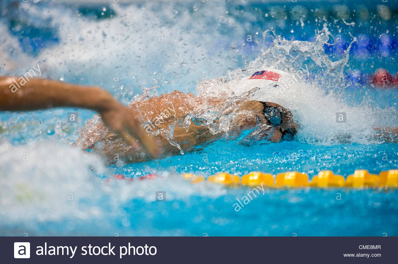 USA competes in the Men's 4x100m Freestyle relay Heats held at the London Aquatics Center at the London 2012 - Stock Image