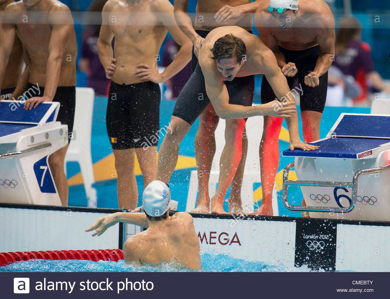 FRANCE jubilate after winning the Men's 4x100m Freestyle relay Finals held at the London Aquatics Center at - Stock Image