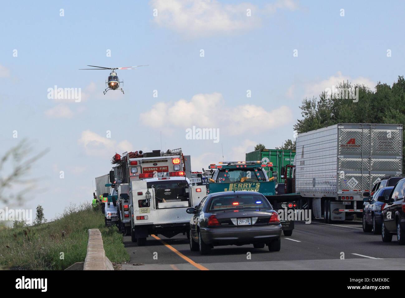 Monday, 30 July, 2012 -- A LifeFlight helicopter transports a victim