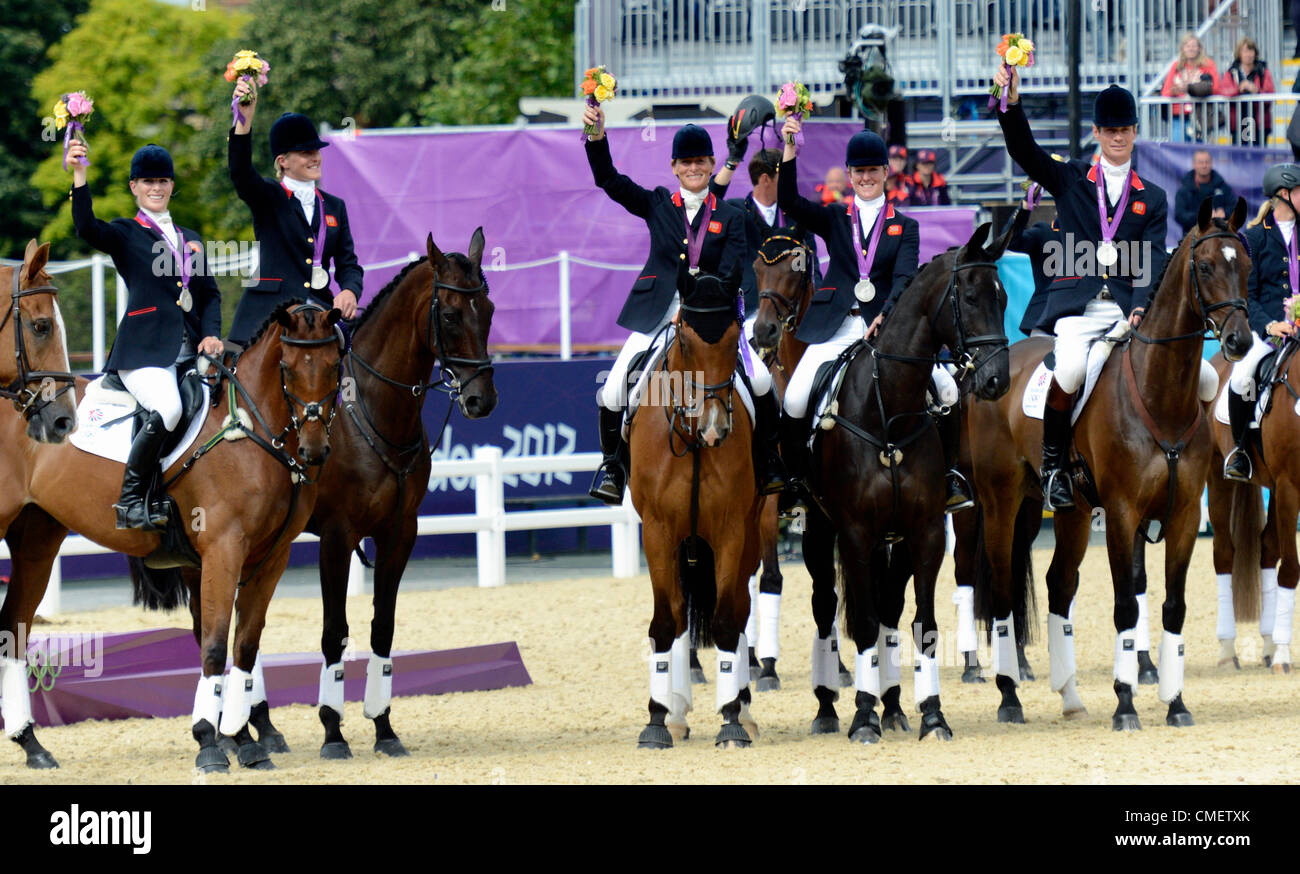 London, UK. 31st July, 2012. Greenwich Park. GB Eventing Team win silver medal L-R Zara Phillips, Tina Cook, Mary - Stock Image