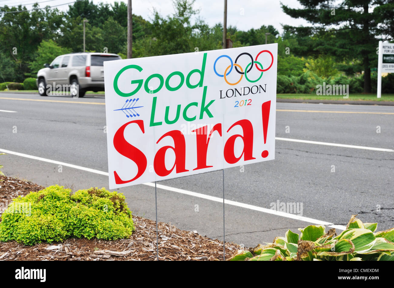 Roadside support poster for Connecticut Rower Sara Hendershot who qualified for Final in Summer Olympics. Avon, - Stock Image