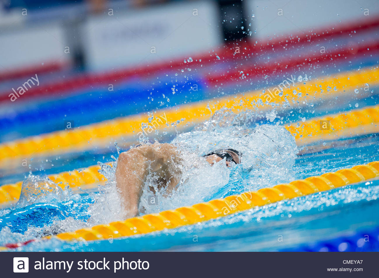 USA competes in the Men's 4x100m Freestyle relay Finals held at the London Aquatics Center at the London 2012 - Stock Image